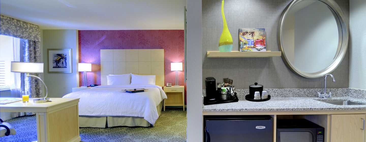 Hampton Inn & Suites Miami/Brickell-Downtown Hotel, FL – Whirlpool Studio mit King-Size-Bett