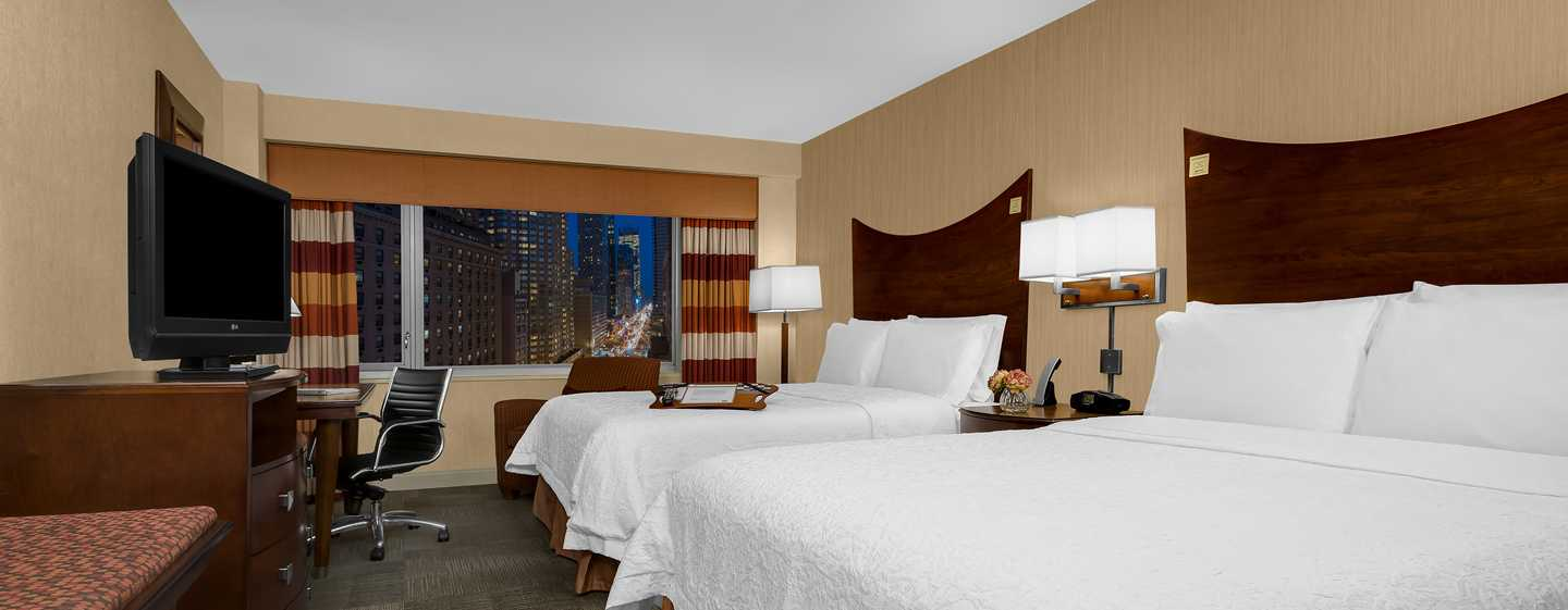 Hotel Hampton Inn Manhattan-Times Square North, Nueva York, EE. UU. - Habitación con dos camas Queen