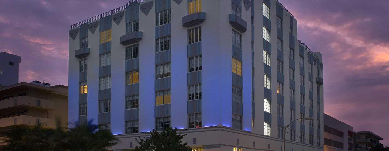 Hotel Hilton Garden Inn Miami South Beach, EE. UU. - Fachada del hotel
