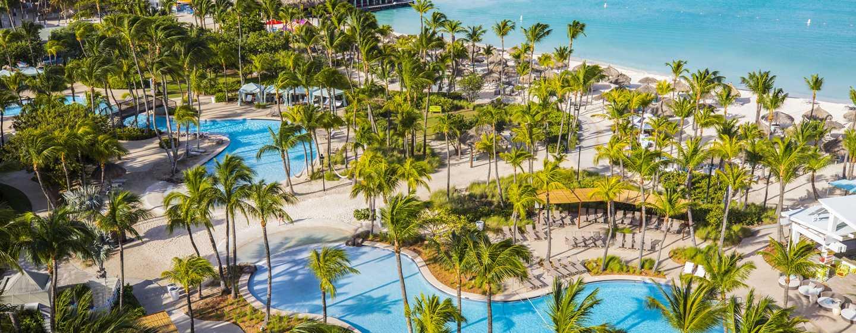 Hilton Aruba Caribbean Resort & Casino hotel, Aruba - Uitzicht op het resort