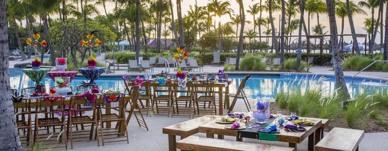 Hilton Aruba Caribbean Resort & Casino hotel, Aruba - Evenementopstelling bij het zwembad
