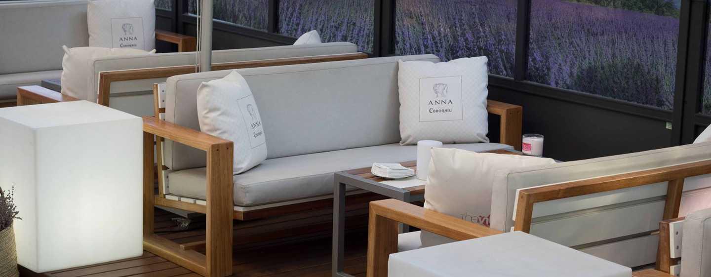 Hôtel Hilton Barcelona, Espagne - Terrasse ouverte en saison