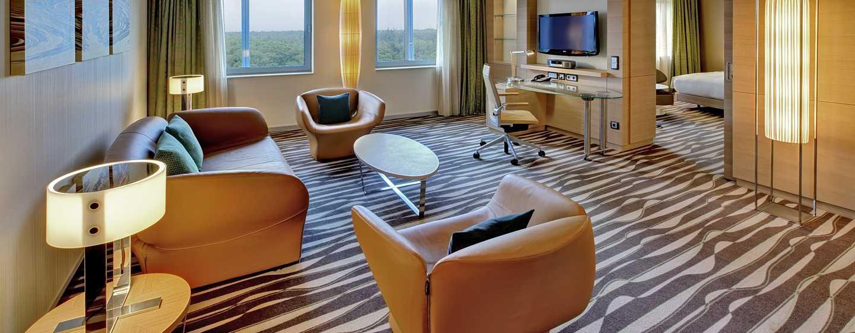 Hotel Hilton Frankfurt Airport, Alemania - Suite ejecutiva Corner con cama King y vista panorámica