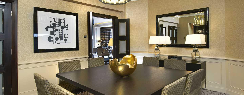 London Hilton on Park Lane Hotel, Großbritannien – Essbereich der Präsidenten Suite