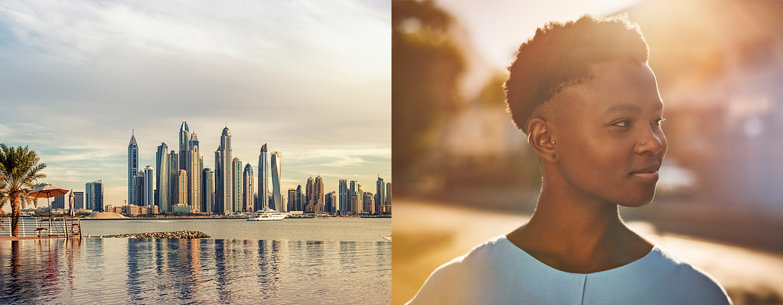 LXR Hotels & Resorts - Uitzicht op de skyline en een meisje dat glimlacht in het daglicht