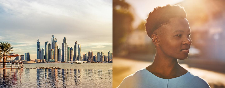 LXR Hotels & Resorts - วิวเส้นขอบฟ้าและหญิงสาวกำลังยิ้มในเวลากลางวัน
