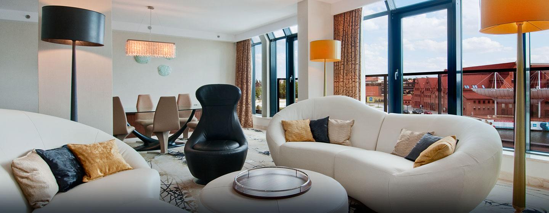 Hotel Hilton Gdańsk, Polska - Salon w apartamencie