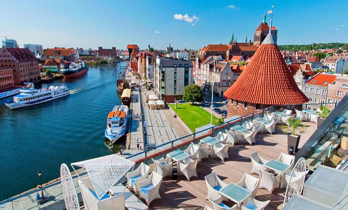 Hilton Gdansk, Polen - Unik Urban Beach sommerterrasse