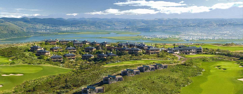 Conrad Pezula Resort and Spa, Knysna, Südafrika – Luftaufnahme der Hotelanlage