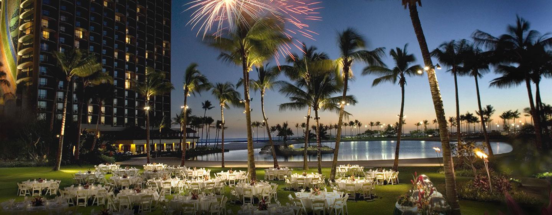 Der schöne Außenbereich des Resorts kann für Festlichkeiten genutzt werden