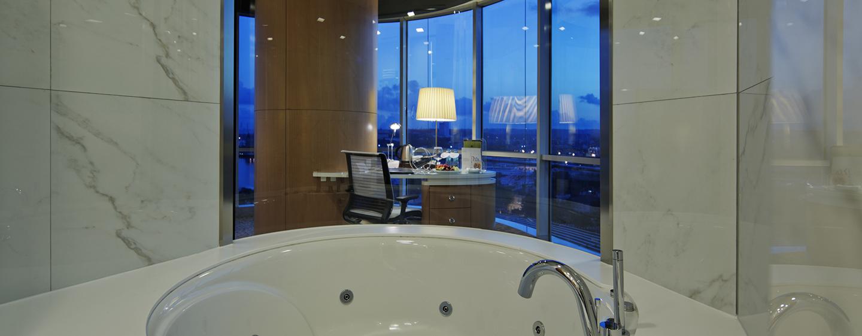Unsere luxeriösen Badezimmer sind modern ausgestattet.