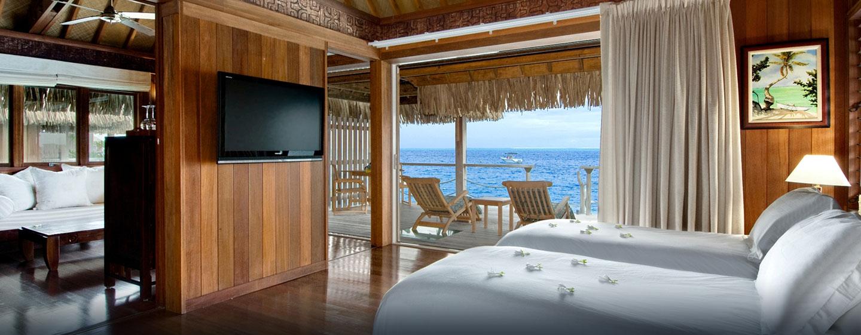 Hôtel Hilton Bora Bora Nui Resort & Spa, Polynésie française - Villa de luxe sur pilotis avec lits jumeaux