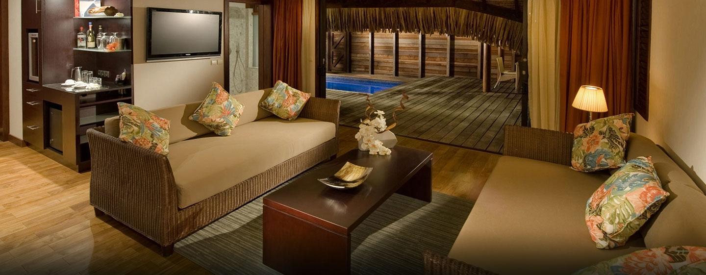 Hôtel Hilton Moorea Lagoon Resort & Spa, Polynésie française - Salle de séjour d'une suite