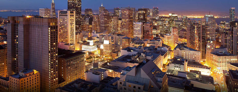Hôtel Hilton San Francisco Union Square, CA - Vue de San Francisco, au crépuscule