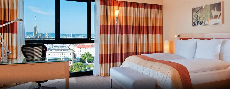 Hôtel Hilton Vienna, Autriche - Chambre Hilton Plus de luxe avec très grand lit