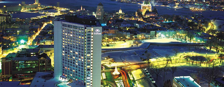Hôtel Hilton Quebec, Canada - Vue de l'hôtel de nuit