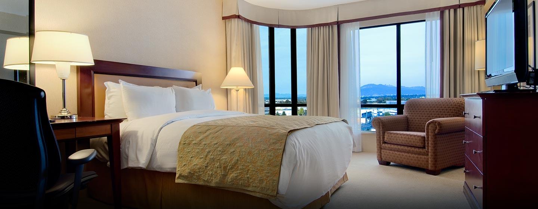 Hôtel Hilton Vancouver Airport, CB, Canada - Chambre avec très grand lit
