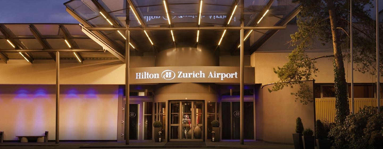 Hôtel Hilton Zurich Airport, Suisse - Entrée extérieure de l'hôtel