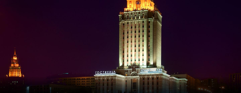 Hôtel Hilton Moscow Leningradskaya, Russie - Extérieur de l'hôtel la nuit