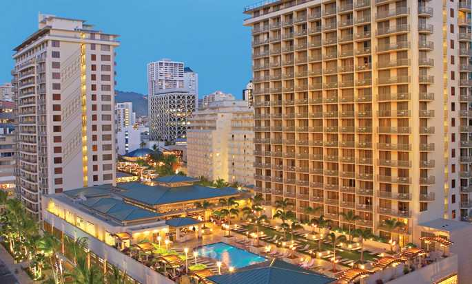 Embassy Suites Waikiki Beach Walk, Hawaii, USA - Exterior evening